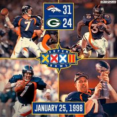 """NFL on CBS 10 hrs · Edited · . """"This one's for John"""" became a part of Denver Broncos history 17 years ago today as John Elway captured his first Super Bowl. Denver Broncos Players, Nfl Football Players, Denver Broncos Football, Go Broncos, Broncos Fans, Best Football Team, Football Stuff, Cincinnati Bengals, Pittsburgh Steelers"""