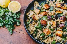 Honey Glazed Halloumi And Roasted Eggplant Couscous — Farm to Fork Vegan Couscous Recipes, Healthy Salad Recipes, Snack Recipes, Snacks, Ella Vegan, Easy Starters, Pomegranate Molasses, Roast Eggplant, Couscous Salad