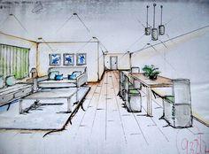 DESIGN DIARY: Living-Dining Room | Fast Draft / Sketch Dining Room, Sketch, Interior Design, Architecture, Home Decor, Sketch Drawing, Nest Design, Arquitetura, Decoration Home