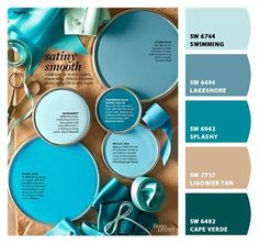 Swimming - Bedroom Paint colors from ColorSnap by Sherwin-Williams Teal Paint Colors, Tan Paint, Paint Color Schemes, Paint Colors For Home, House Colors, Laundry Room Colors, Bedroom Wall Colors, Kitchen Paint Colors, Favorite Paint Colors