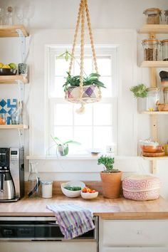 & After: Tiny Kitchen Before and After: Tiny Kitchen remodel.Before and After: Tiny Kitchen remodel. Modern Kitchen Design, Interior Design Kitchen, Home Design, Kitchen Decor, Kitchen Wood, Kitchen Plants, Kitchen Ideas, Kitchen Shelves, Ranch Kitchen