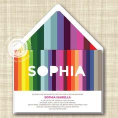Love This Rainbow Invitation Modern Stripe Bat Mitzvah By Margotmadison 3 20 Https