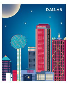Dallas wall art is available in an array of finishes, materials, and sizes, this retro inspired art print will make Dallas feel close to your heart with its bright color palette and unique design. You