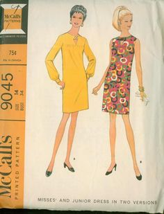 Front yoked dress. with or without long set in sleeves, has back center zipper. Dress front gathered to two piece yoke, yoked is tacked closed under button above triangular opening. Neck and front opening are faced and interfaced and dress may be underlined. Sleeves are gathered into interfaced but toned bands, sleeveless armholes are faced. 1967