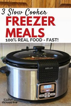 Get a real food dinner on the table in no time with these 3 Slow Cooker Freezer Meals. Twenty minutes of prep and you've got Chicken Taco Soup, Chicken Curry and Chicken Fajitas ready to go!