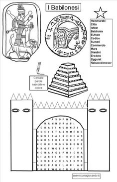 Disegni da colorare i babilonesi, la porta di ishtar da colorare, babilonesi da colorare, storia, la ziqqurat babilonese da colorare, le divinità babilonesi da colorare, hammurabi da colorare, disegni da colorare il codice di hammurabi, disegni da colorare i giardini pensili Teaching Social Studies, Teaching History, Printable Coloring Pages, Adult Coloring Pages, Free Coloring, Ancient Egypt For Kids, Elementary Spanish, Library Activities, Book Writer