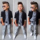 3PCS Baby Boys Dress Suit Coat/Plaids Shirt/Denim Pants Set Clothes Outfits US