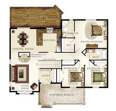 """Cottonwood Floor Plan (Beaver Homes & Cottages) [3 Beds, 2 bath, 1392 sq ft 46′-0″w x 40′-0″d; Living Room: 13′-0″ x 16′-1″ / Kitchen: 10′-6″ x 10′-9"""" / Dining Room: 13′-0″ x 10′-9″ / Master Bedroom: 15′-1″ x 12′-10″ / Bedroom 2: 10′-4″ x 10′-0″ / Bedroom 3: 10′-4″ x 10′-0″] [a reviewer wrote: (1) An additional bathroom near the foyer and (2) a separation door between the bedrooms and main house would be perfect!]"""
