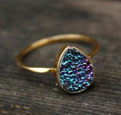 Titanium Blue Druzy Ring - Teardrop - Vermeil Gold
