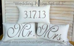 Hey, I found this really awesome Etsy listing at https://www.etsy.com/listing/152617705/3-wedding-pillows-free-shipping-date