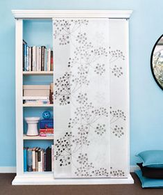 A smart cleaning strategy for drop-in visitors: panels that prettily disguise what's on the shelves. I did this with these exact IKEA panels in a home office and it worked like a charm. Ikea Panel Curtains, Curtain Panels, Panel Blinds, Panel Doors, Shower Curtains, Ideas Armario, Mirror Closet Doors, Closet Door Makeover, Ikea Inspiration