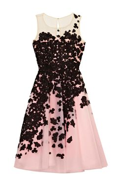 Oscar De La Renta Embroidered Lace Cocktail Dress