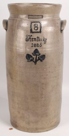 "Stoneware churn with cobalt ""Kentucky 1836"" inscription and decoration, stamped ""I Thomas,"" the earliest known marked piece of Kentucky pottery, sold for $55,200 to the Museum of Early Southern Decorative Arts on Oct. 16 at Case Antiques Inc., Auctions & Appraisals, in Knoxville, Tenn."