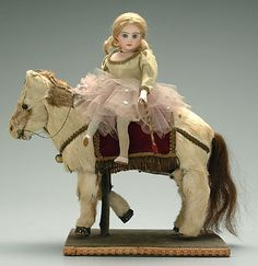 Automaton; Girl on Horse, Jumeau Head, Musical