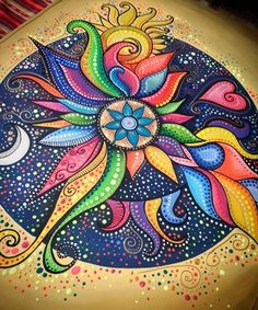 Oh This Artwork! This Mandala with These Particular Color Choices is Gorgeous! - Oh This Artwork! This Mandala with These Particular Color Choices is Gorgeous! Dot Art Painting, Mandala Painting, Mandala Drawing, Mandala Dots, Whimsical Art, Art Techniques, Doodle Art, Painted Rocks, Design Art