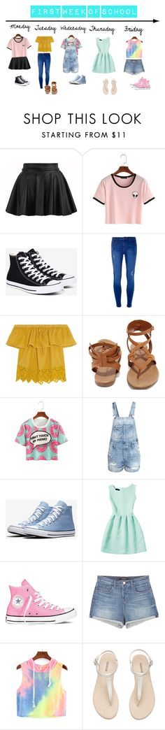 """""""First week of school outfits"""" by jillybug2131 ❤ liked on Polyvore featuring Converse, Dorothy Perkins, Madewell, Breckelle's, H&M, J Brand and back2school"""