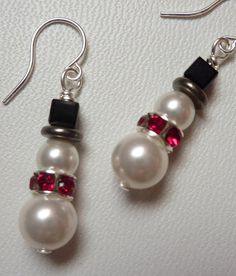Cute Snowman Earrings in Pearl and Crystal  Christmas Earrings by WeirdlyCute, $10.00