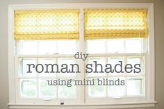 roman shades; I will definitely be doing this at some point. A much better idea than replacing all my ugly mini blinds. Re-purpose ftw!
