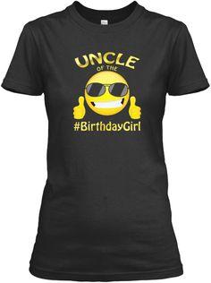 Uncle Of The Birthday Girl Emoji T Shirt Black Women's T-Shirt Front