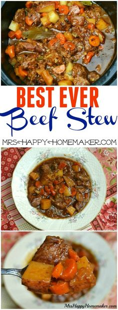 BEST EVER Beef Stew - at least that's what she says! But I add a can of corn...maybe some tomato