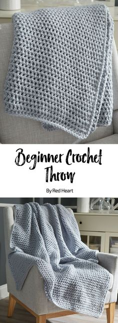 Beginner Crochet Throw free crochet pattern in Super Saver Chunky yarn.
