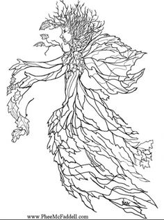 Coloring page autumn fairy