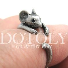 Mouse Animal Wrap Around Ring in Silver - Sizes 4 to 9 | DOTOLY