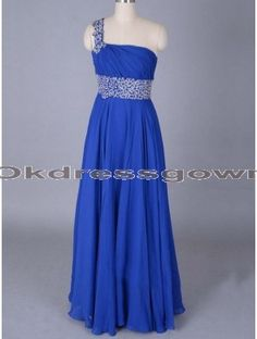 cheap royal blue one shoulder chiffon long prom dress with swarovski crystals
