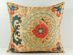 Vintage Hand Embroidered Uzbek Suzani Pillow MSP3-48