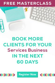 Do you work with clients? Then you know how you ALWAYS need to be able to find and book more clients. In this FREE masterclass on 10/20 you'll learn how to find and book more clients in the next 60 days to help you grow your business in a big way. **Click on the image to save your spot now**