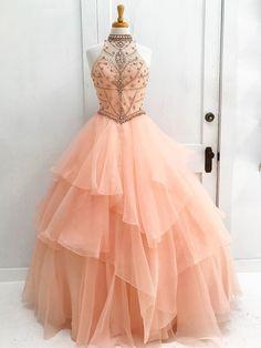 Chic A-line High Neck Pearl Pink Beading Modest Long Prom Dress Evening Dress AM551