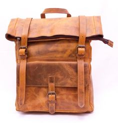 3076bba0ebb4 Fold over Leather Backpack Tan LARGE Scandinavian look Urban Bags