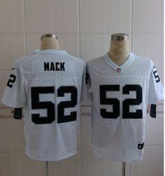 Mens Nike NFL Oakland Raiders #52 Khalil Mack White Elite Jerseys
