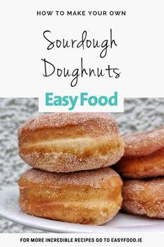 Sourdough Doughnut Recipe, Sourdough Starter Discard Recipe, Sourdough Recipes, Sourdough Bread, Donut Recipes, Snack Recipes, Cooking Recipes, Baked Doughnuts, Cooking Bread