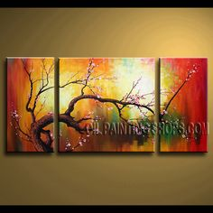 Huge Contemporary Wall Art Oil Painting On Canvas Panels Stretched Ready To Hang plum blossom. This 3 panels canvas wall art is hand painted by Bo Yi Art Studio, instock - $136. To see more, visit OilPaintingShops.com
