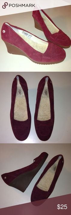 Ugg suede tassel toe wedge heels. Worn once!! 8 These are gorgeous! Cute suede detail on toe. Mulberry leather with Ugg shearling footbed. Cute heel, look great paired with skinny jeans. Keep for feel warm without a heavy boot. Size 8 UGG Shoes Wedges