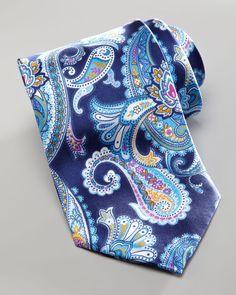 Brioni Large-Paisley Silk Tie, Purple - Neiman Marcus.