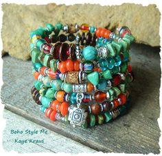 Turquoise Jewelry Boho Southwest Bracelet rustic by BohoStyleMe