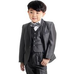 Boy's Dark Grey Suit (Jacket+Vest+Pants) Three-Piece Set Ring Bearer's Wear Kid's Ceremonial Suit B22 – DKK kr. 314