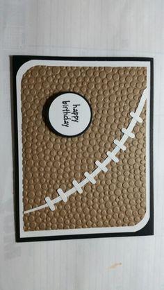 handmade birthday card ... football punch art ... embossing folder bumpy dots texture and hand cut seamline  ... great look for a sports fan ...
