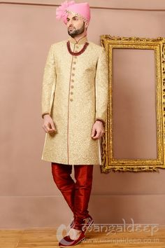 Cream Jacquard Silk Wedding Wear Heavy Embroidery Work Sherwani. For more information :- Call us @+919377222211 (Whatsapp Available)