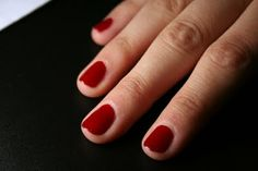 Short red nails. Classic. Everyone does black now - yawn. Bring back Diana Vreeland!