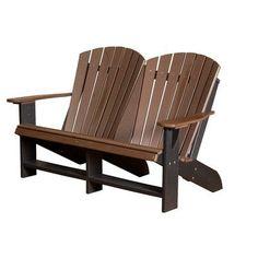 Little Cottage Company Heritage Double Adirondack Chair Finish: Weathered Wood/Black