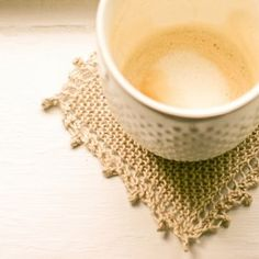 This elegantly understated knit coaster pattern is the perfect finishing touch for the DIY dorm room.
