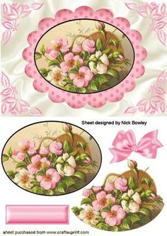 PRETTY PINK FLOWERS IN A BASKET IN OVAL FRAME on Craftsuprint - Add To Basket!