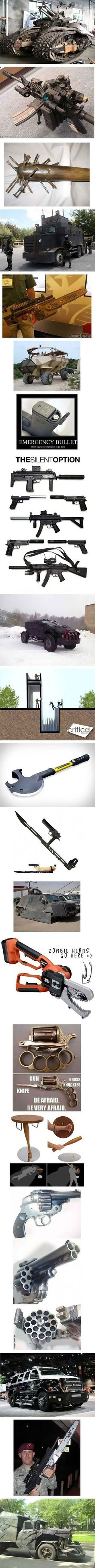 Supplies for the zombie apocalypse.