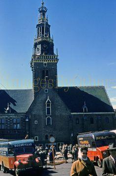 Original 1956 slide City Hall with cheese seller trucks, Alkmaar, Holland