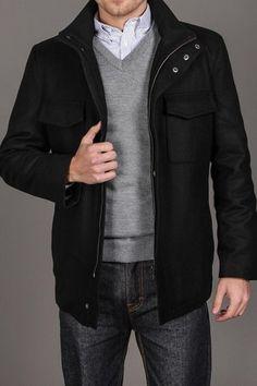 IZOD Flap Pocket Hidden Zip Up Wool Coat - WANT when it comes in my size