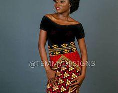 Red African pencil skirt, African print, African clothing for women, women clothing, Ankara skirt, pencil skirt, African fabric #africanfashion #Etsy