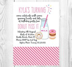 Donut Miss Out Girls Birthday Invitation Printable from Casey Joan Design Etsy Store